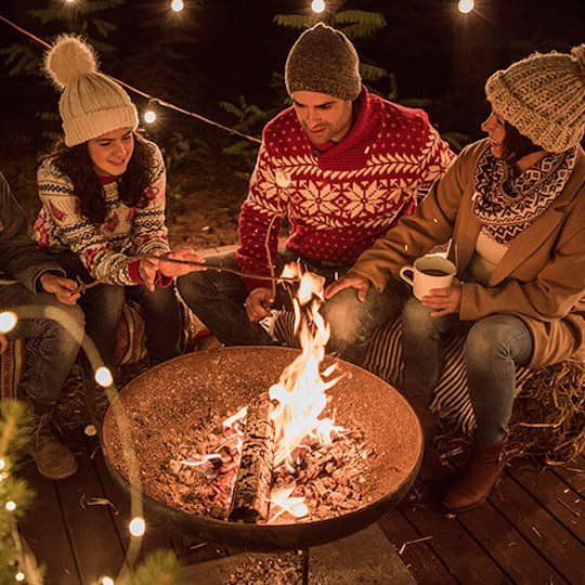 four college age adults sitting around a fire roasting marshmallows in winter weather cwi