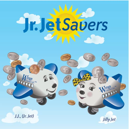 jr jetsavers cartoon logo featuring jj jet and jilly jet