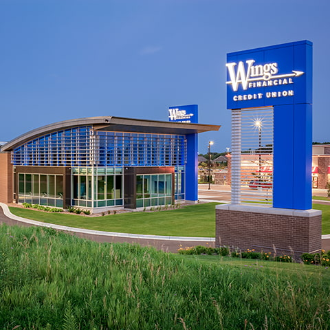 Exterior shot of the wings lakeville branch location